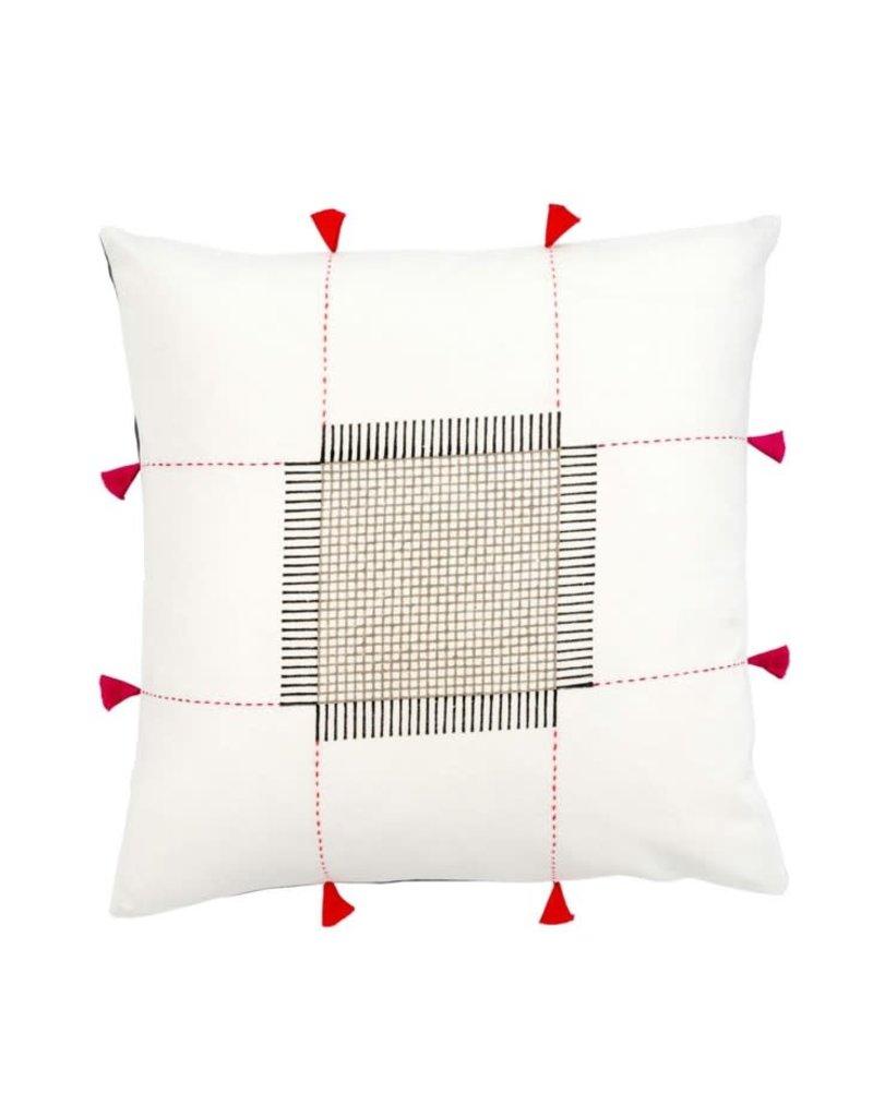 White Kolkata Throw Pillow