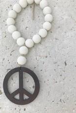 Mini Love Beads in Seashell White - Peace Sign