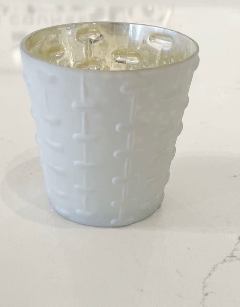 White Lyssa Glass Votive Holder - Lines
