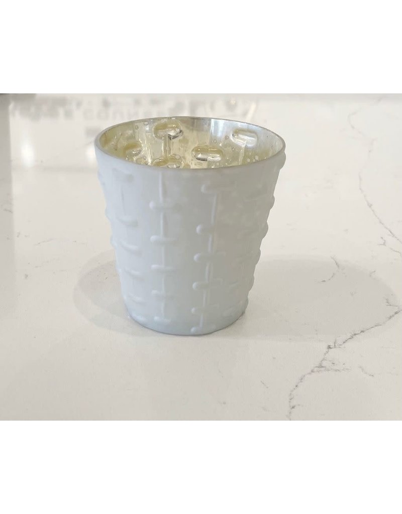 White Lyssa Glass Votive Holder - Lines
