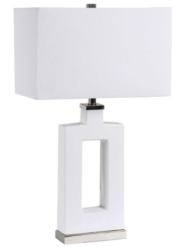 White Ceramic Entry Table Lamp