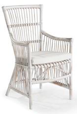 Whitewash Rattan Arm Dining  Chair