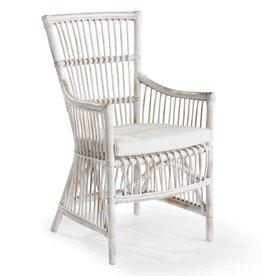 Whitewash Rattan Arm Chair