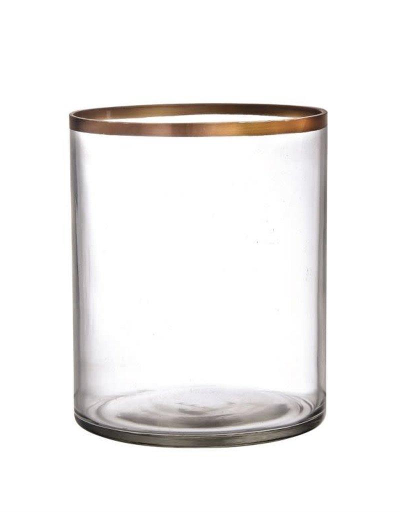 Gold Rim Glass Flower Vase