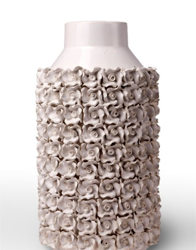 Large Detailed White Flower Vase