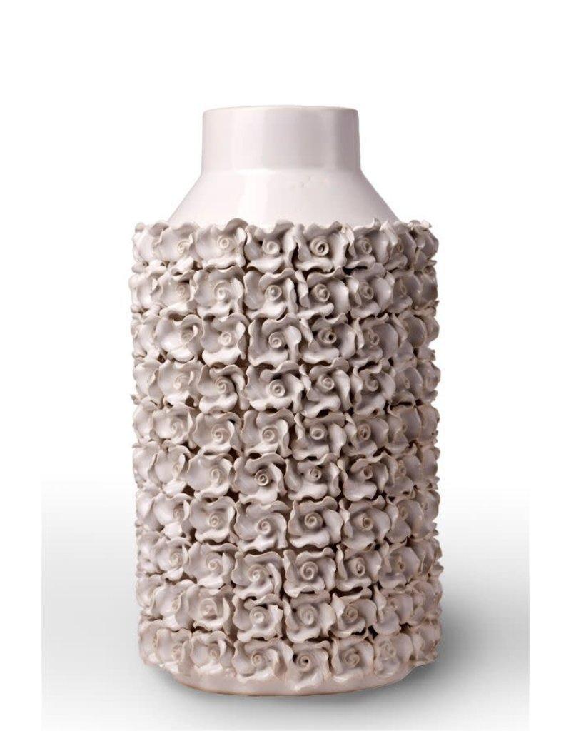 Large Detailed White Flower Vase