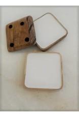 Mango Wood - White Enamel Coasters Set of 4