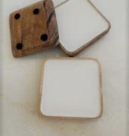 White Enamel Coasters-Mango Wood