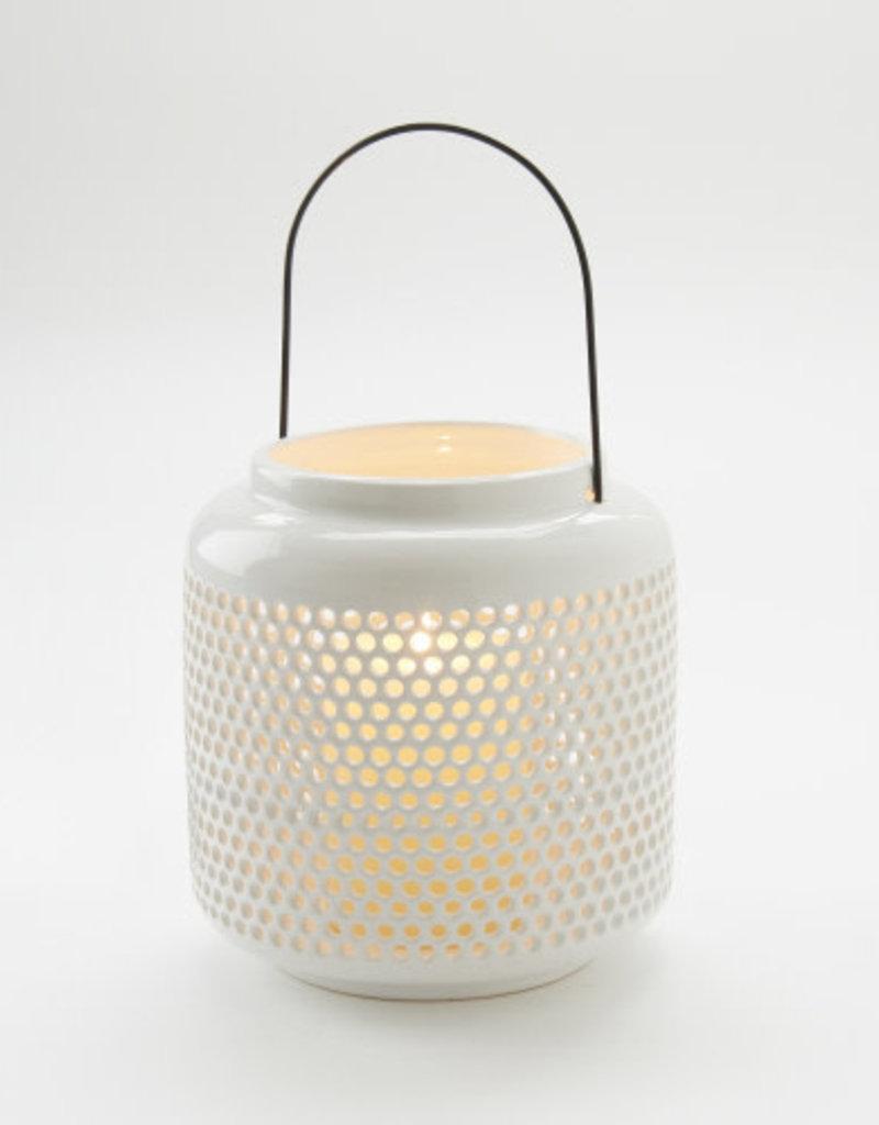 White Open Dot  Candle Lantern