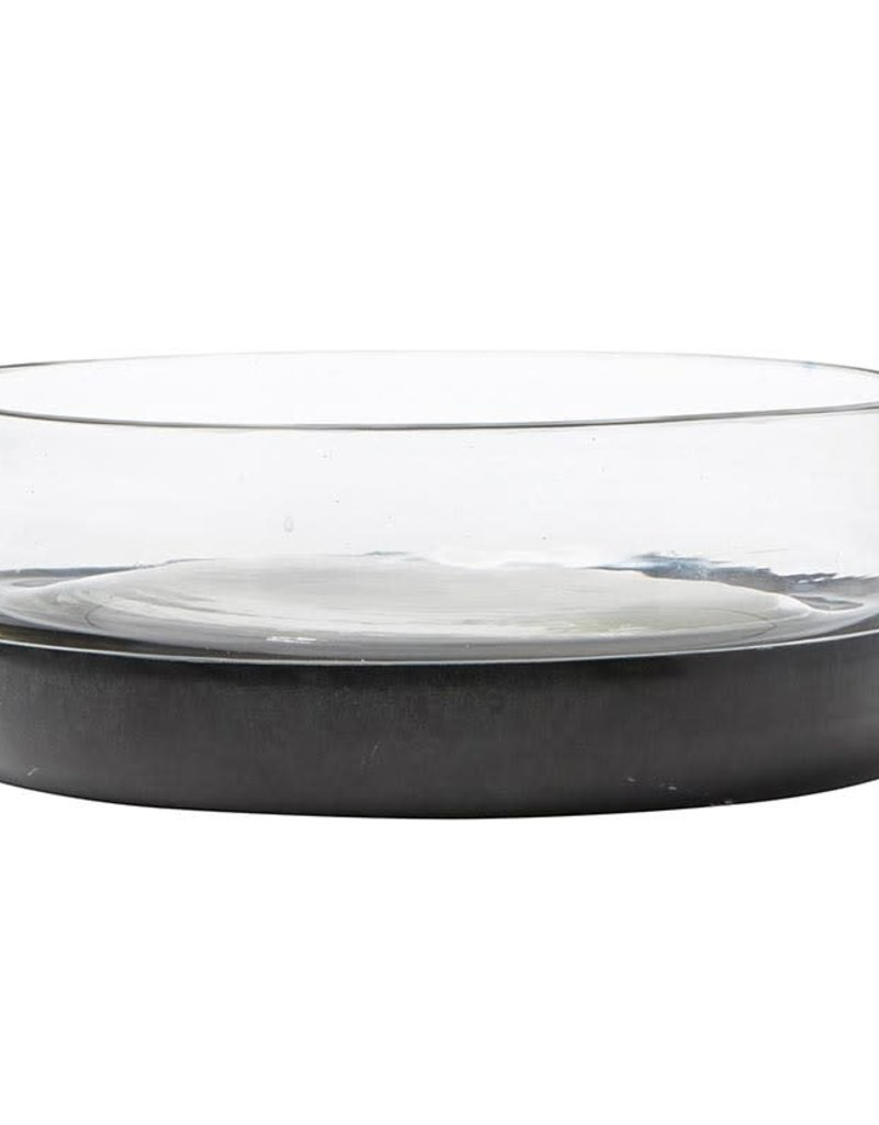Black Marble and Glass Serving Bowl