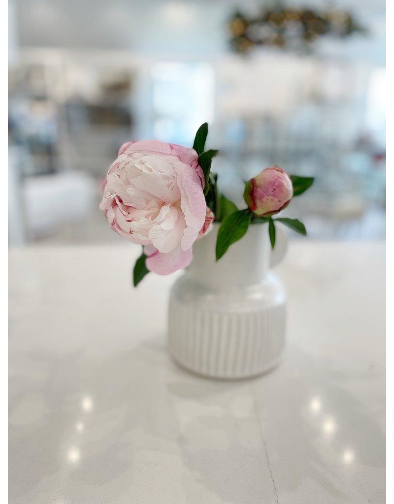 White Stoneware Pleated Flower Vase