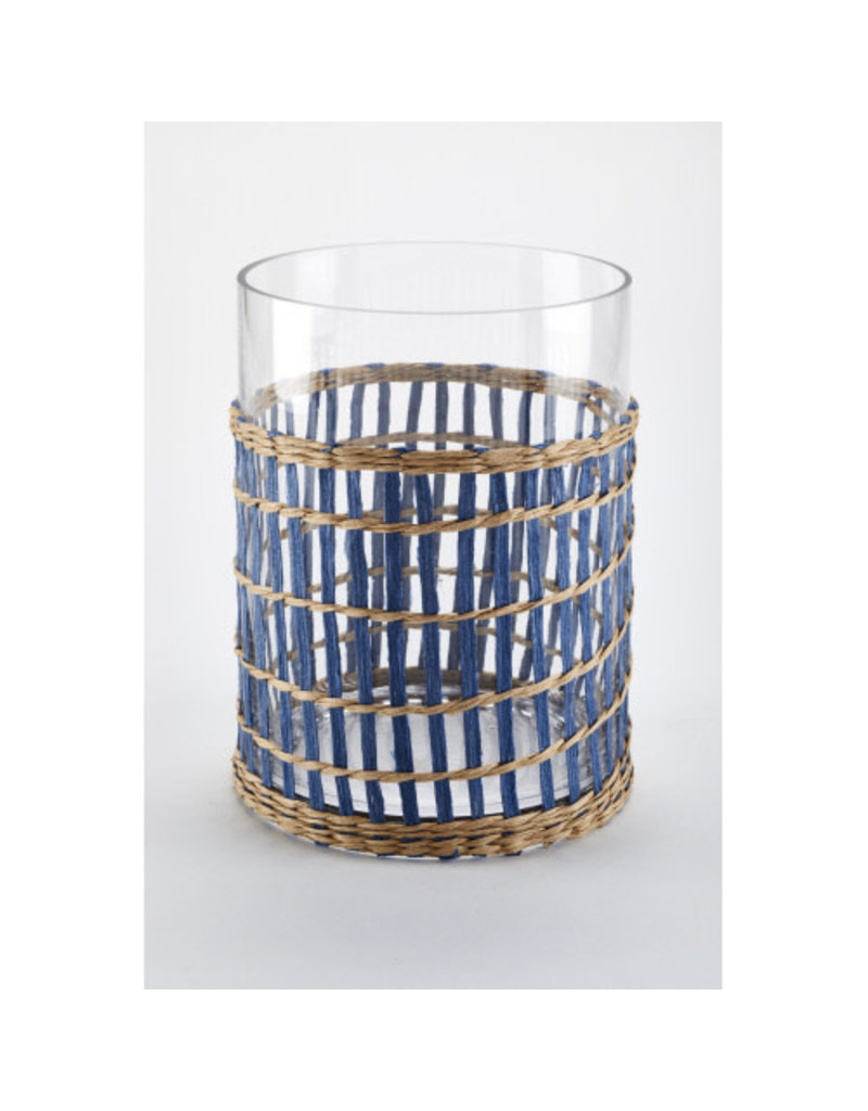 Wicker Wrap-Blue Candle Lantern