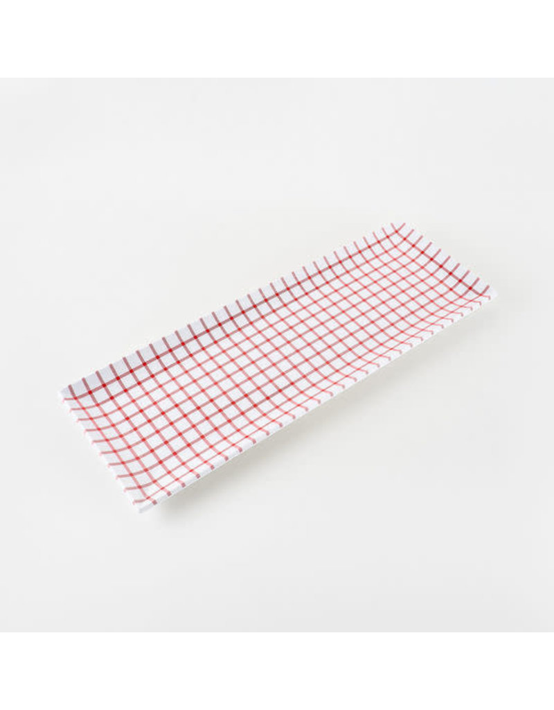 Red Melamine Gingham Sandwich Serving Tray
