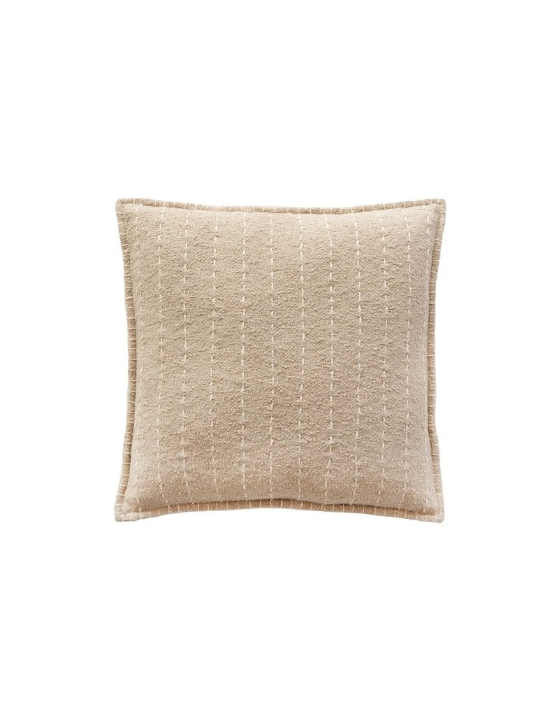 Beige Quilted Striped Cotton Throw Pillow