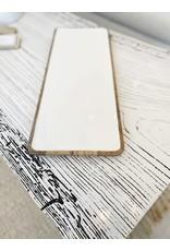 Medium Mango Wood White Enamel Tray