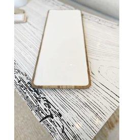 Mango Wood White Enamel Tray-Medium