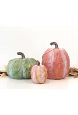 Lg Leaf Patterned Pumpkin - Green