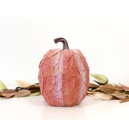 Lg Leaf Patterned Pumpkin - Orange
