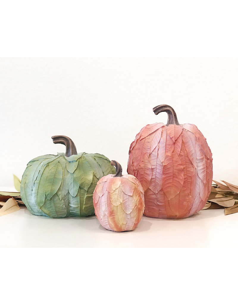 Sm Leaf Patterned Pumpkin - Yellow