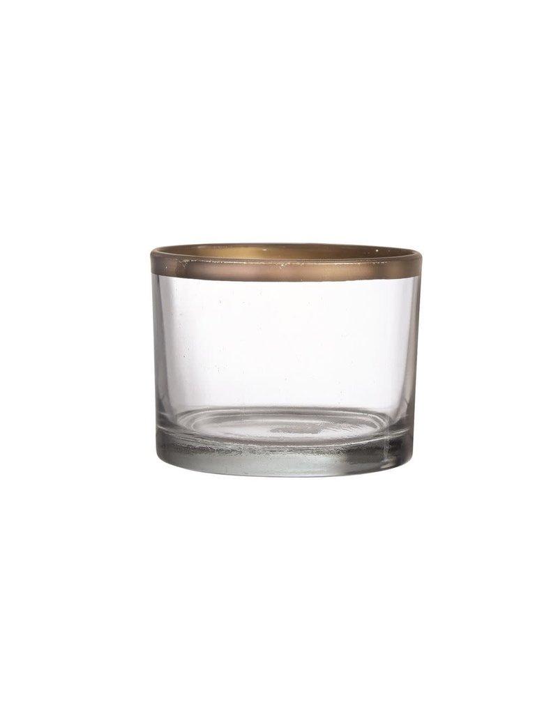 "Glass Gold Rim Vase-Bowl 3.5"""
