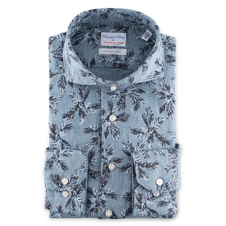 Emanuel Berg Harvard Modern Fit Linen Shirt