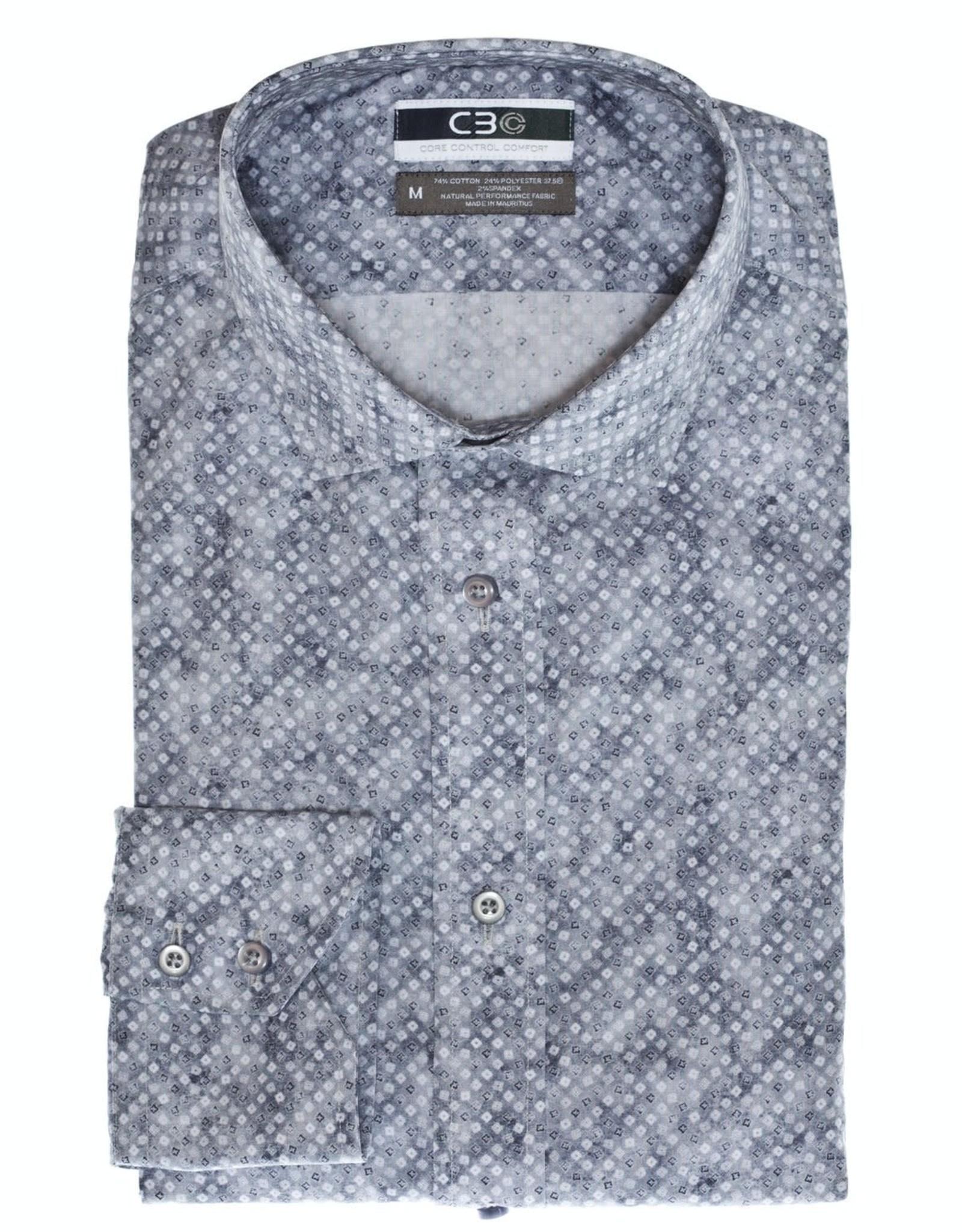 Thomas Dean & Co C3 Square Print Performance Sport Shirt
