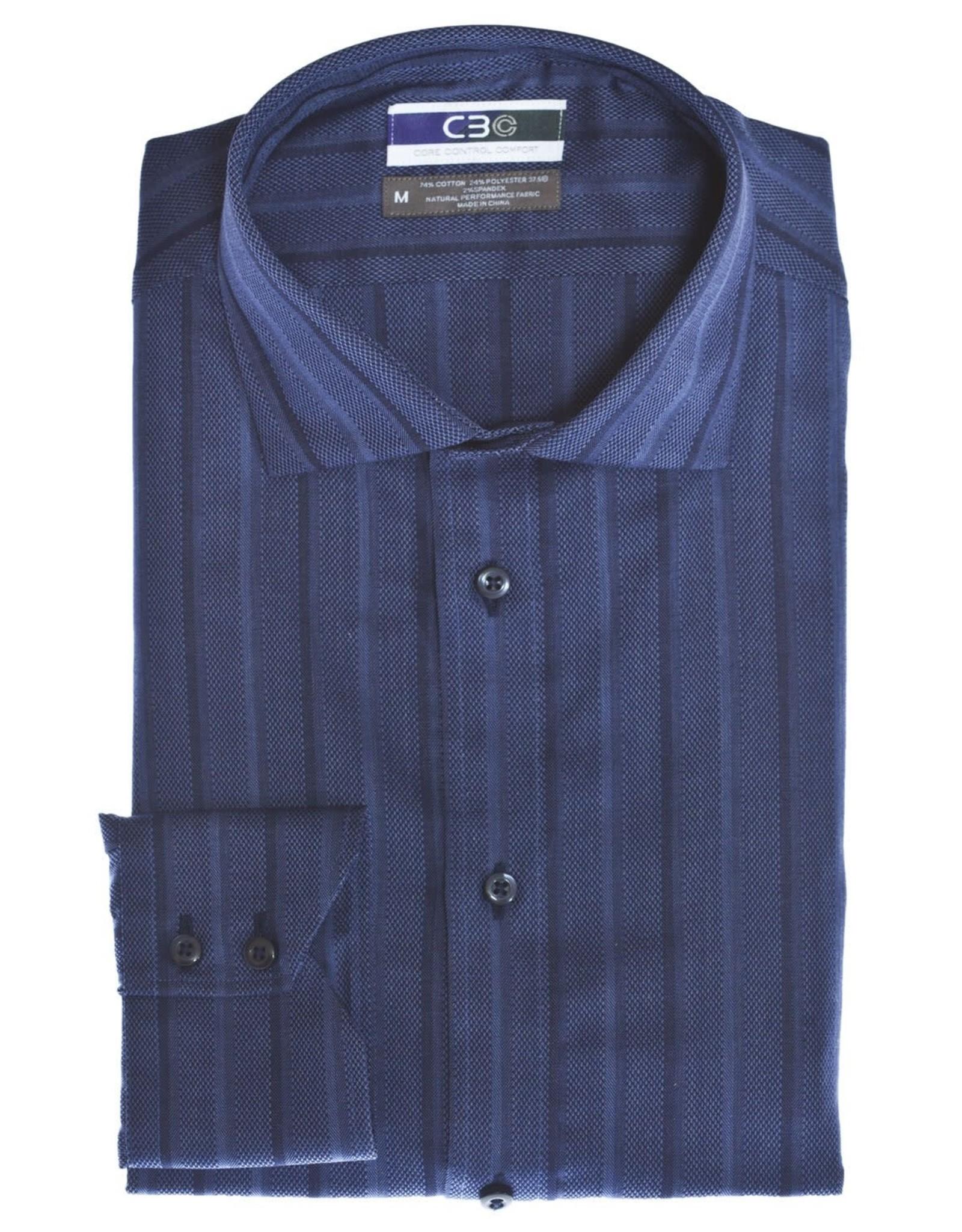 Thomas Dean & Co Spread Collar Textured Stripe Shirt