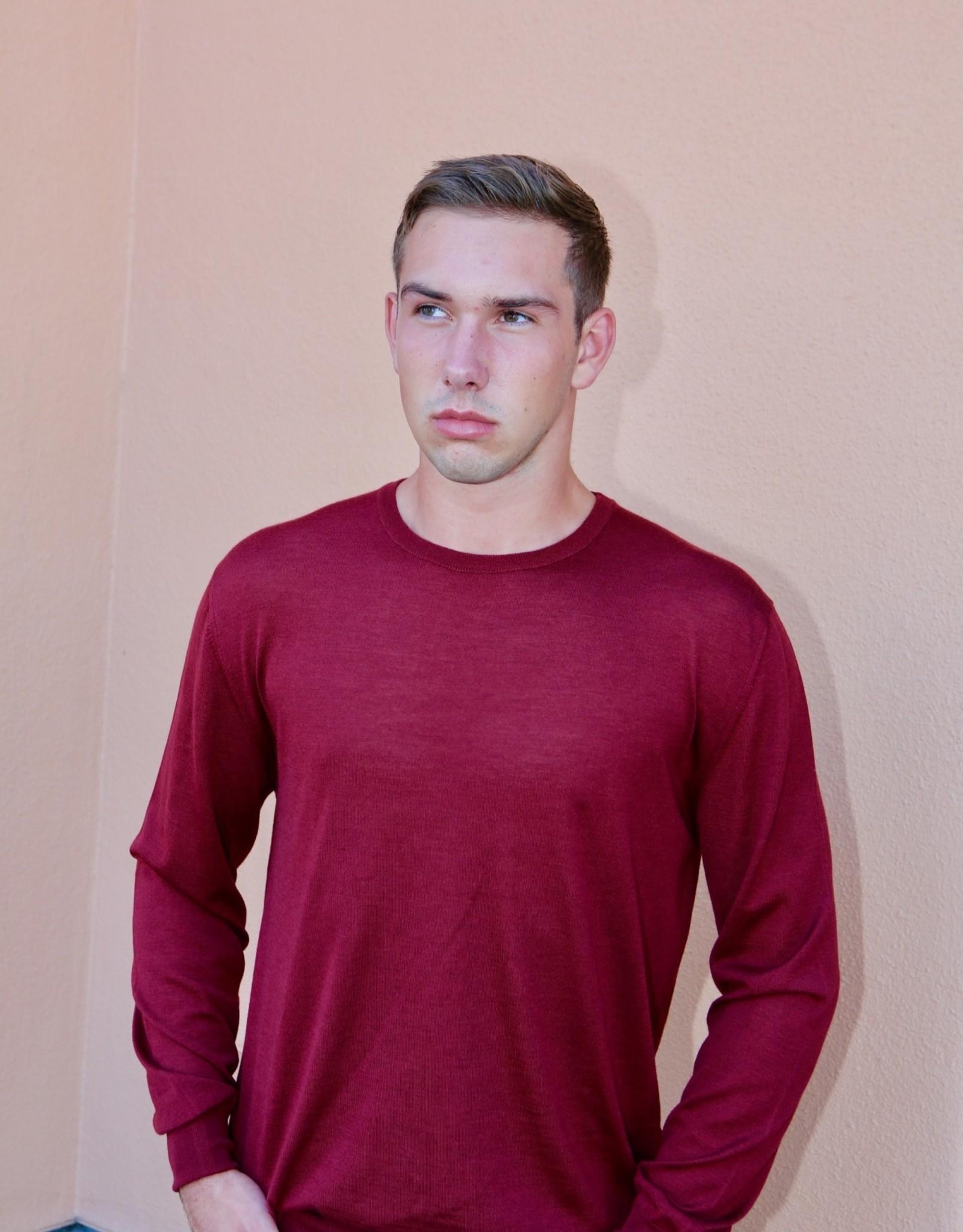 Umberto Vallati Crew Neck Wool/Silk/Cash Knit Sweater