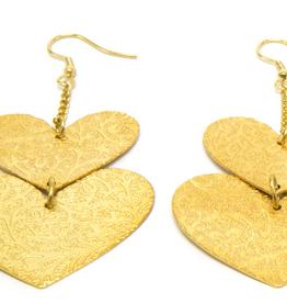 VESTOPAZZO Brass Heart Earrings
