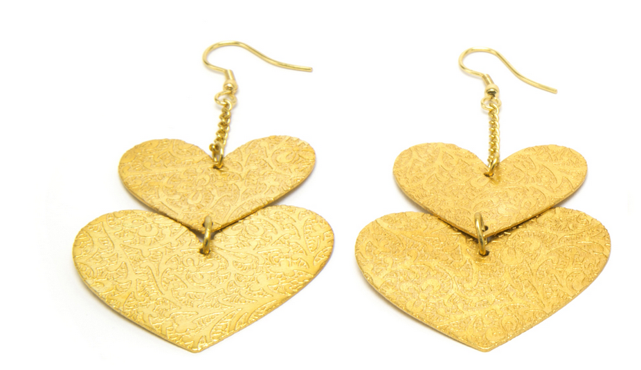 VESTOPAZZO Brass Heart Earrings