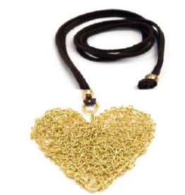VESTOPAZZO Brass Tangled Wire Heart Necklace