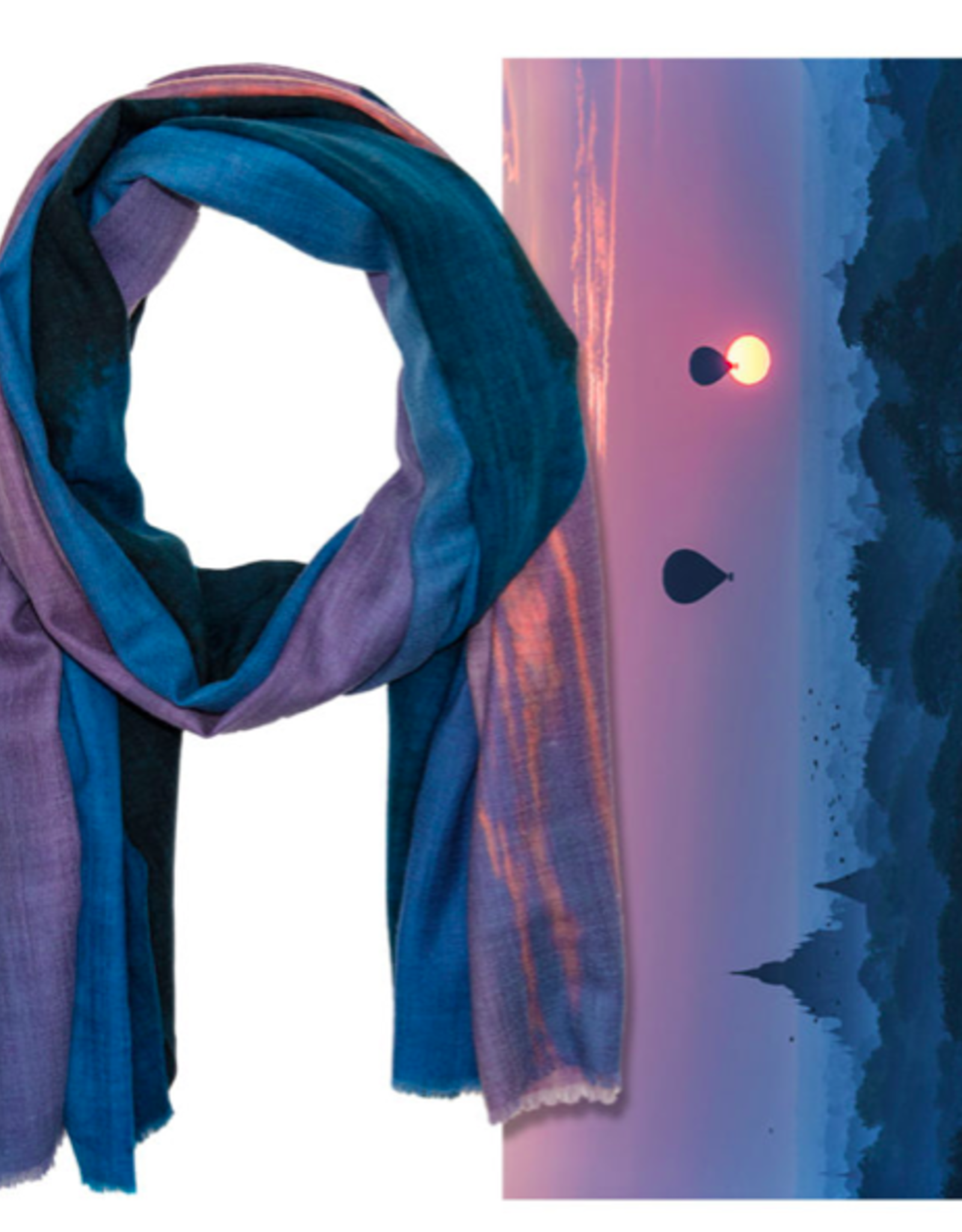 Wanderborn Artist Edition Scarf Bagan in Blue