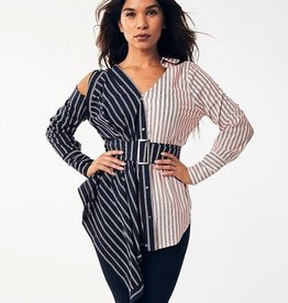 GOD Striped Ruffle Blouse
