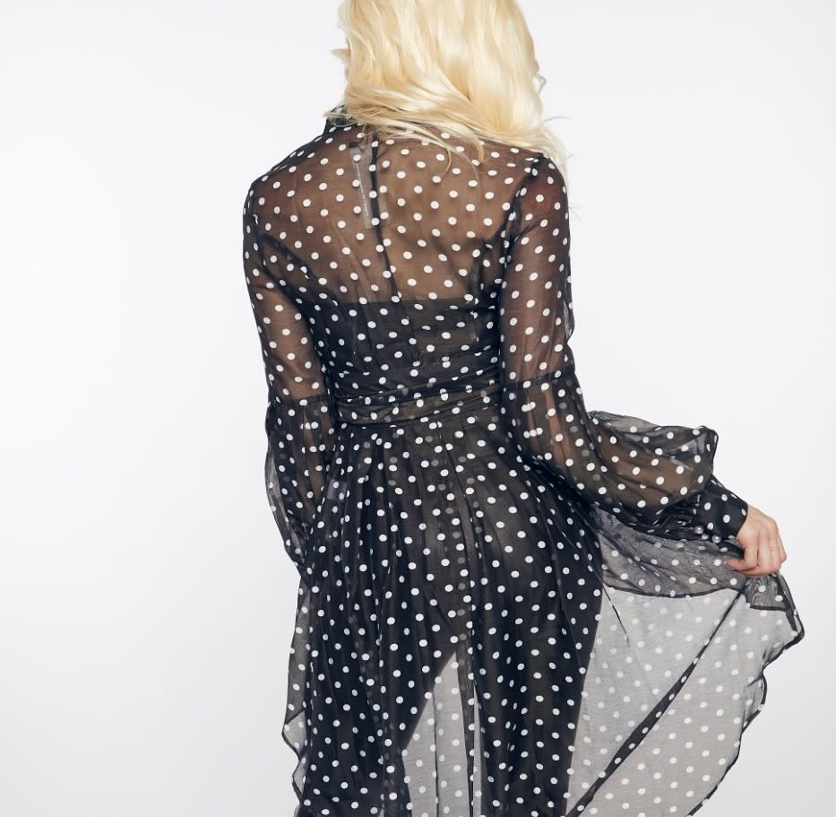 GOD Sheer Polka Dot Ruffle Blouse