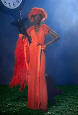 EMILCouture Orange Wrap Gown with Lace