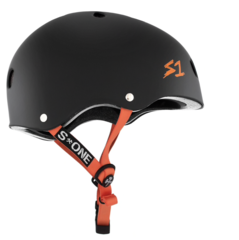 S1 LIFER HELMET - MATTE BLACK WITH ORANGE STRAPS