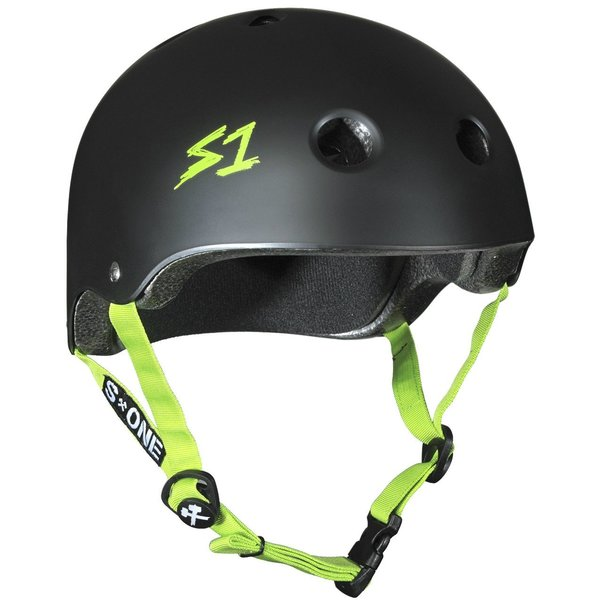 S1 LIFER HELMET - MATTE BLACK WITH BRIGHT GREEN STRAPS