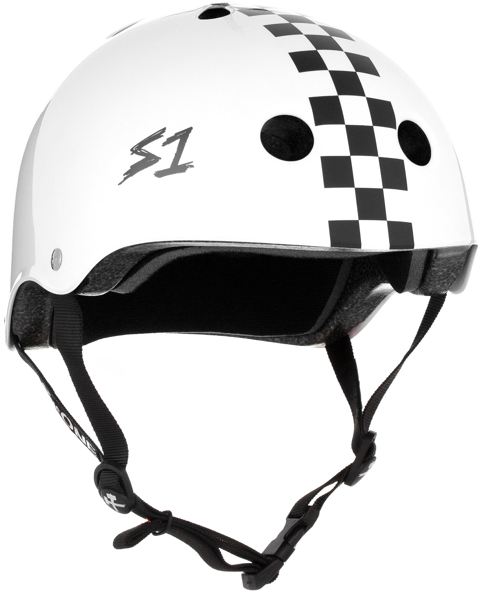 S1 S1 LIFER HELMET - WHITE GLOSS WITH CHECKERS