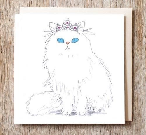 Beatrix the Cat in Tiara Card