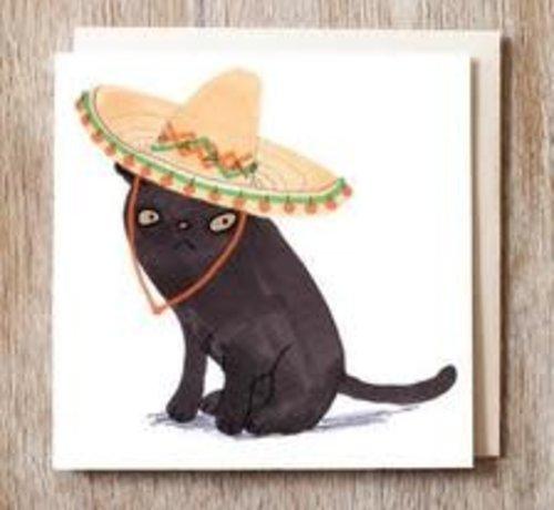 Caspar the Black Cat in Sombrero Card