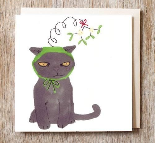 Marv the Mistletoe Cat in a Kiss me Quick Hat