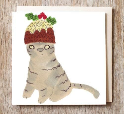 Molly the Cat in a Figgy Pudding Hat