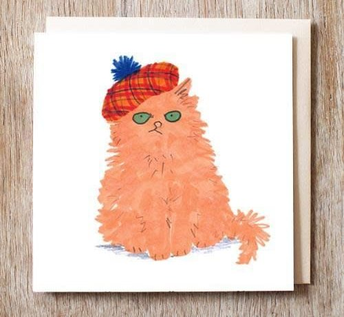 Robbie the Cat in Tartan Hat Card
