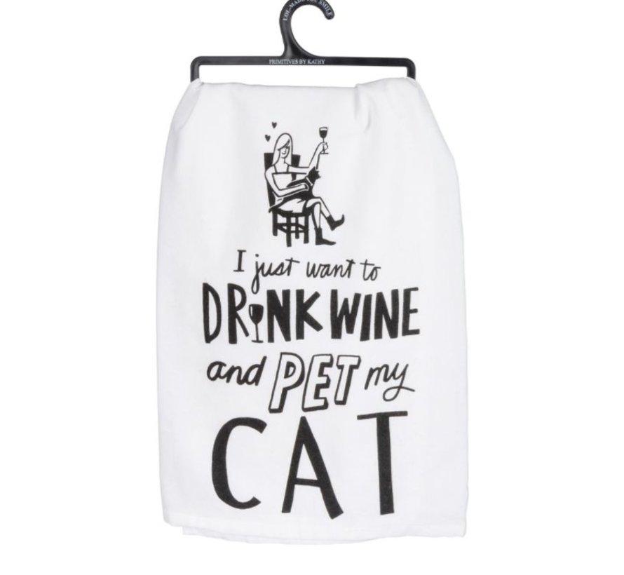 Selena Pet My Cat Tea Towel