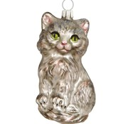 Twinkle Silver Cat Ornament