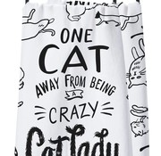 One Cat Away From Being A Crazy Cat Lady Dish Towel