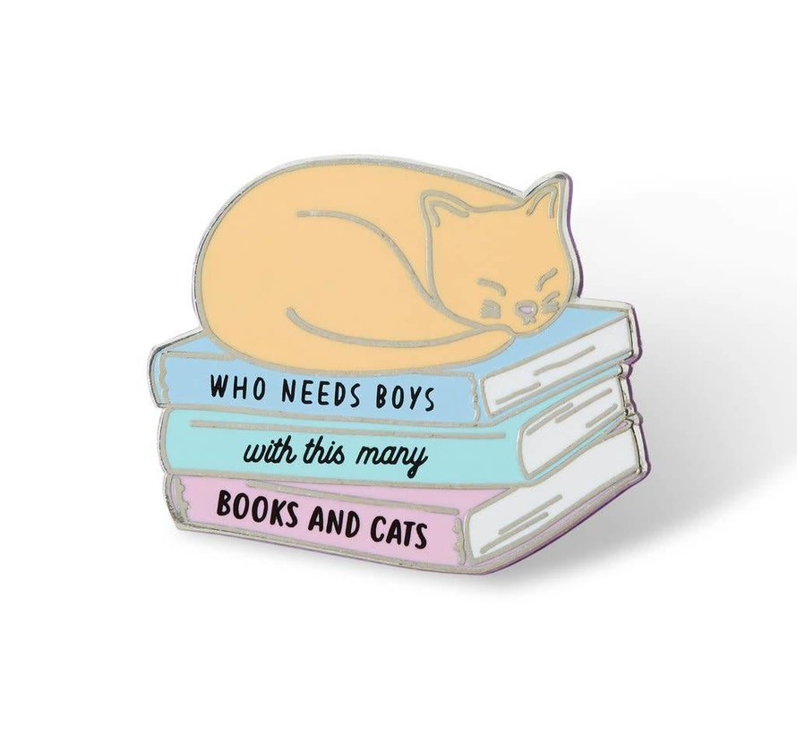 Who Needs Boys With This Many Books And Cats Enamel Pin