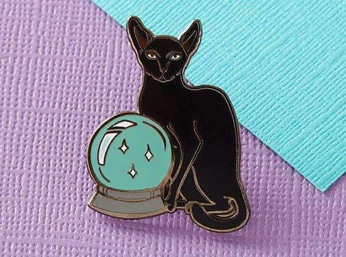 Fortune Teller Cat Enamel Pin