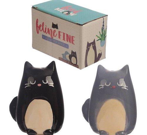 Feline fine black and grey cat salt and paper set