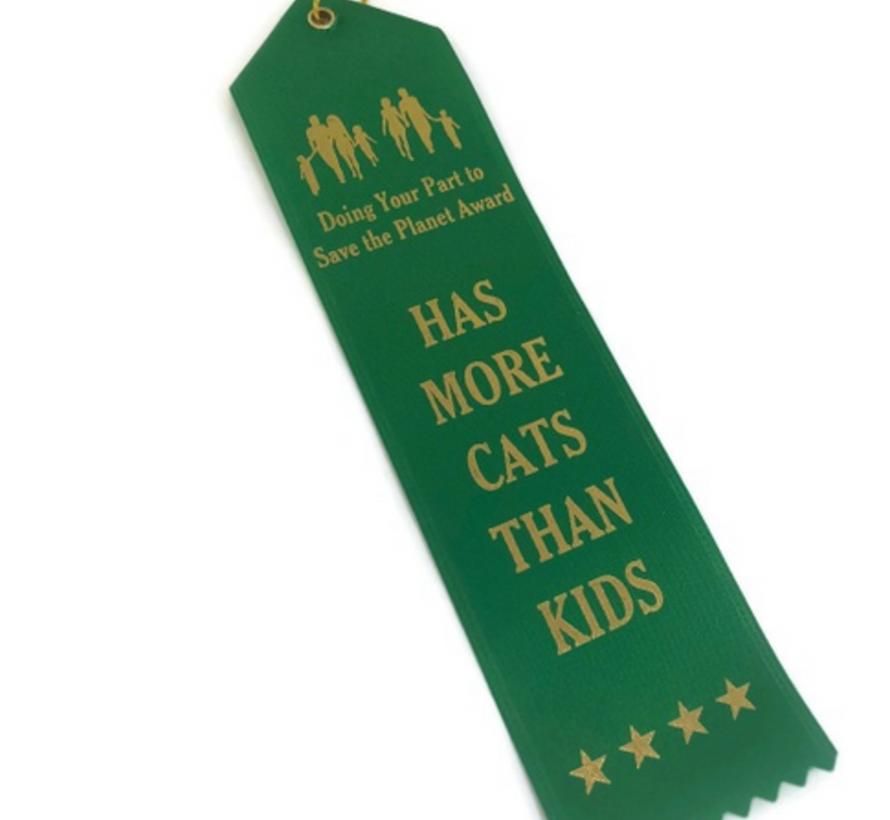 Cat People Award Ribbon More Cats Than Kids